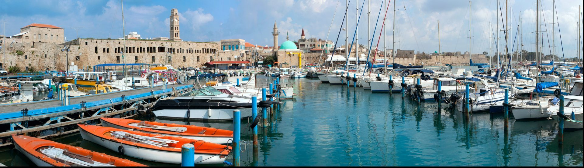 The historic port of Acre in north Israel. Panorama
