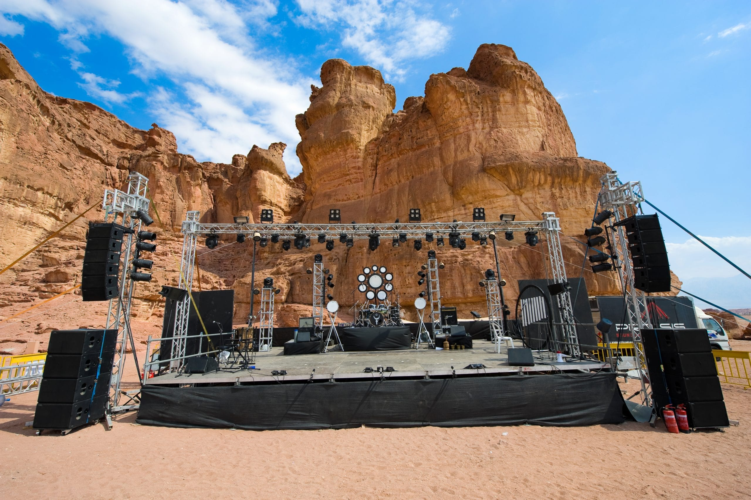 TIMNA PARK, ISRAEL - OCT 13, 2014: A stage built for a festival in Timna Park in the southern negev desert in Israel